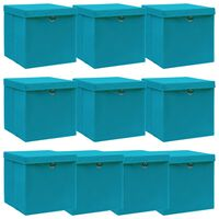 vidaXL uzglabāšanas kastes ar vāku, 10 gab., 32x32x32 cm, zilganas