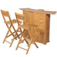 vidaXL 3-daļīgs bistro mēbeļu komplekts, saliekami krēsli, tīkkoks