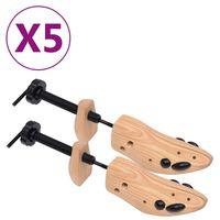 vidaXL apavu spriegotāji, 5 pāri, izmērs 36-40, priedes masīvkoks