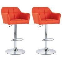vidaXL bāra krēsli ar roku balstiem, 2 gab., oranža mākslīgā āda