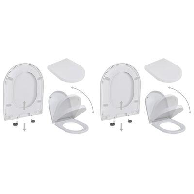 vidaXL tualetes sēdekļi ar lēnās aizvēršanas funkciju, 2 gab., balti