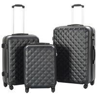 vidaXL cieto koferu komplekts, 3 gab., ABS, melns