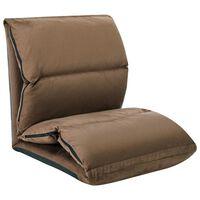 vidaXL salokāms grīdas krēsls, pelēkbrūna mikrošķiedra