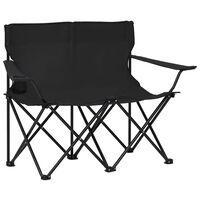 vidaXL divvietīgs kempinga krēsls, salokāms, tērauds un audums, melns