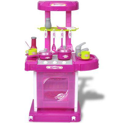 Bērnu rotaļu virtuve ar skaņas un gaismas efektiem, rozā