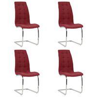 vidaXL konsoles virtuves krēsli, 4 gab., vīnsarkans audums