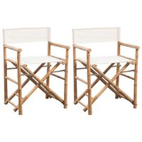 vidaXL režisora krēsli, 2 gab., saliekami, bambuss un audekls