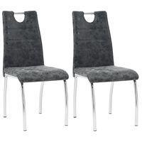 vidaXL virtuves krēsli, 2 gab., melna mākslīgā āda