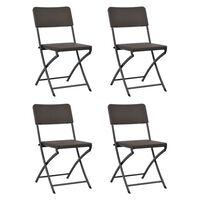 vidaXL saliekami dārza krēsli, 4 gab., HDPE, tērauds, brūni