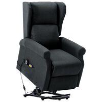 vidaXL masāžas krēsls, paceļams, tumši pelēks audums