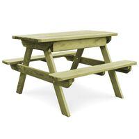 vidaXL piknika galds ar soliem, 90x90x58 cm, impregnēta priede