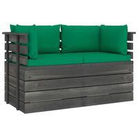 vidaXL 2-vietīgs dārza palešu dīvāns ar matračiem, priedes masīvkoks