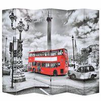 vidaXL istabas aizslietnis, 228x170 cm, saliekams, Londona, melnbalts
