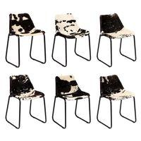 vidaXL virtuves krēsli, 6 gab., dabīga kazas āda
