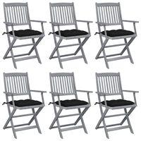 vidaXL saliekami āra krēsli ar matračiem, 6 gab., akācijas masīvkoks