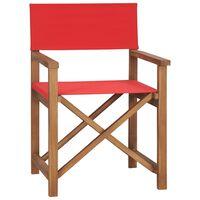 vidaXL režisora krēsls, masīvs tīkkoks, sarkans