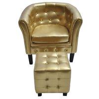 vidaXL klubkrēsls ar kāju soliņu, zelta krāsas mākslīgā āda