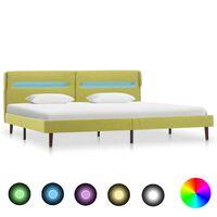 vidaXL gultas rāmis ar LED, zaļš audums, 160x200 cm