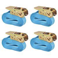 vidaXL kravu stiprināšanas siksna, 4 gab., 0,8 t, 6mx25mm, zila