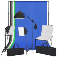 vidaXL fotostudijas komplekts - foto galds, gaismas izkliedētāji, foni