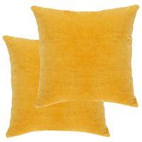 vidaXL spilveni, 2 gab., 45x45 cm, dzeltena samtveida kokvilna