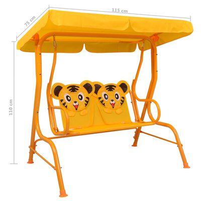 vidaXL bērnu šūpuļdīvāns, dzeltens, 115x75x110 cm, audums