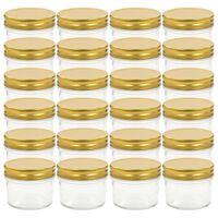 vidaXL ievārījuma burciņas, zelta krāsas vāciņi, 24 gab., 110 ml