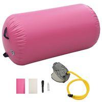 vidaXL piepūšams vingrošanas rullis ar pumpi, 120x75 cm, rozā PVC
