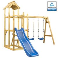 vidaXL rotaļu laukums ar slidkalniņu, šūpolēm un kāpnēm