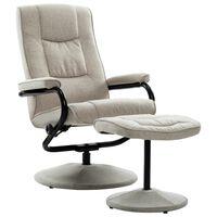 vidaXL atgāžams krēsls ar kāju balstu, krēmkrāsas audums