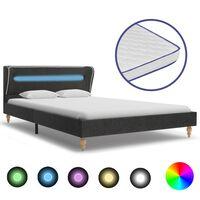 vidaXL gulta ar atmiņas efekta matraci, LED, tumši pelēka, 90x200 cm