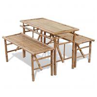 vidaXL alus galds ar 2 soliem, 100 cm, bambuss