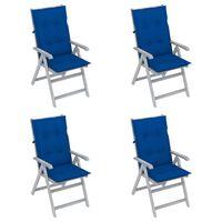 vidaXL atgāžami dārza krēsli ar matračiem, 4 gab., akācijas masīvkoks