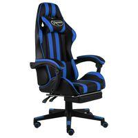 vidaXL biroja krēsls ar kāju balstu, melna un zila mākslīgā āda