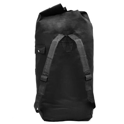 vidaXL ceļojuma soma, armijas stils, 85 L, melna