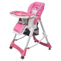 vidaXL bērnu barošanas krēsls Deluxe, regulējams augstums, rozā