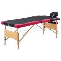 vidaXL saliekams masāžas galds, 3 daļas, koks, melns ar rozā