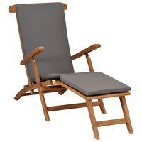 vidaXL pludmales krēsls ar matraci, masīvs tīkkoks, tumši pelēks