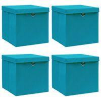 vidaXL uzglabāšanas kastes ar vāku, 4 gab., 32x32x32 cm, zilganas