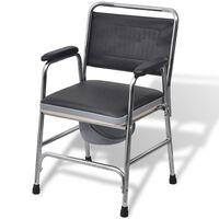 vidaXL tualetes krēsls, tērauds, melns