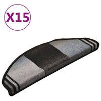 vidaXL kāpņu paklāji, 15 gab., pašlīmējoši, 65x21x4 cm, melni ar pelēku