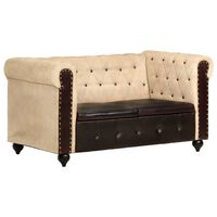 vidaXL divvietīgs Chesterfield dīvāns, brūna dabīgā āda