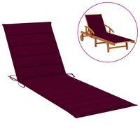 vidaXL sauļošanās krēsla matracis, 200x70x4 cm, vīnsarkans audums