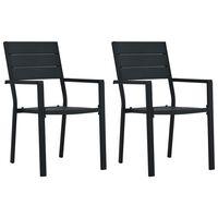 vidaXL dārza krēsli, 2 gab., koka imitācija, melns HDPE