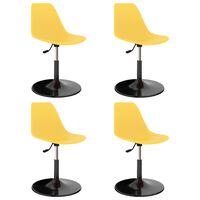 vidaXL grozāmi virtuves krēsli, 4 gab., dzeltena plastmasa