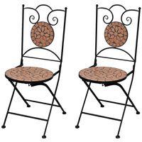 vidaXL saliekami bistro krēsli, 2 gab., keramika, sarkanbrūni