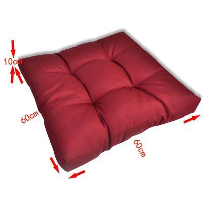 Polsterēts Sēdvietas Spilvens 60 x 60 x 10 cm Sarkanvīna Krāsā