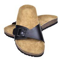vidaXL sieviešu sandales ar korķa zoli un sprādzi, melnas, 37. izmērs