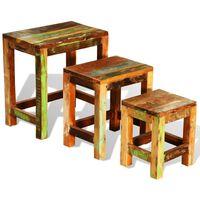 vidaXL kafijas galdiņi, 3 gab., sabīdāmi, antīki, pārstrādāts koks