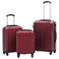 vidaXL cieto koferu komplekts, 3 gab., ABS, vīnsarkans